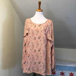 Worthington Floral Ruffle Long Sleeve Blouse 2X